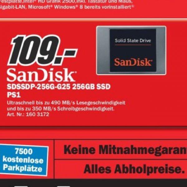 """[MM BOCHUM] SanDisk SSD 256GB, 2.5"""", SATA 6Gb/s (SDSSDP-256G-G25) für 109€  -  GEIZHALS.DE AB: ~137€"""