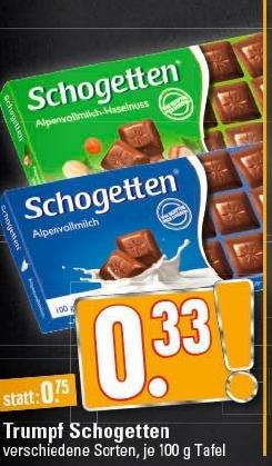 [EDEKA Rhein-Ruhr] Schogetten für nur 33 Cent! Verschiedene Sorten!