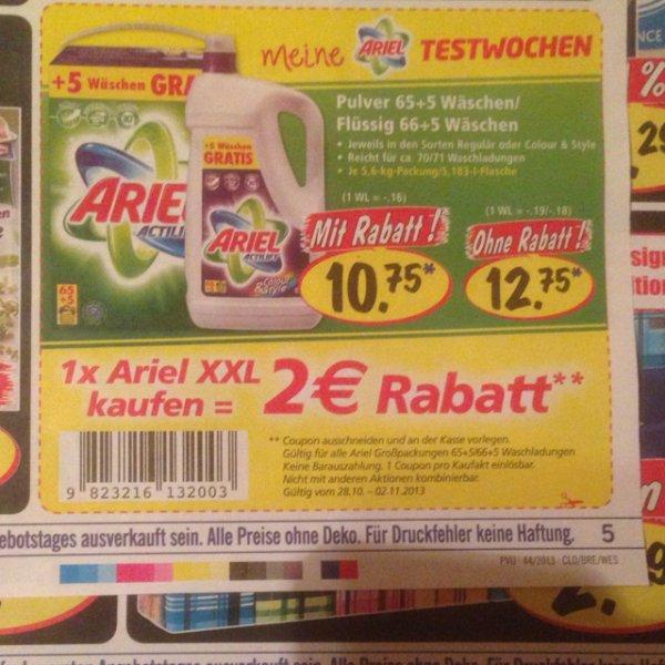 [Lokal] Lidl: Ariel XXL Waschmittel Pulver (65+5) oder Flüssig (66+5 WL) für 15Cent/WL