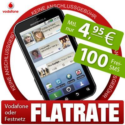 Motorola Defy + Vodafone SuperFlat Mobil/Festnetz SIM Young + GRATIS Flatrate OpenEnd Paket