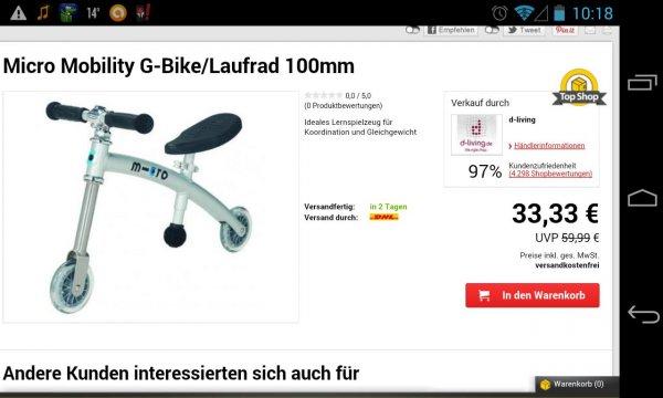 Micro Mobility G-Bike/Laufband 100mm