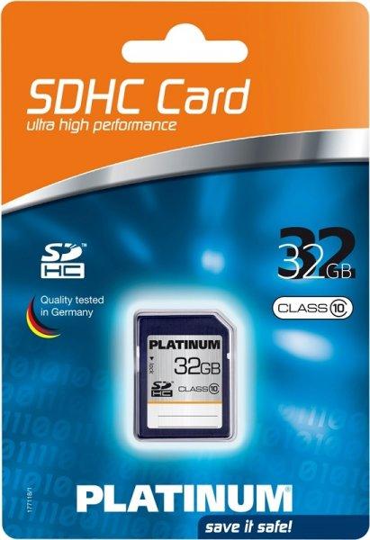 Platinum SDHC Karte 32GB Speicherkarte Class 10 SD Card 32 GB für 15,99€