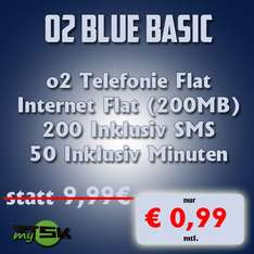 o2 Blue Basic für nur 0,99€/Monat (4,99€ und 96€ Cash)
