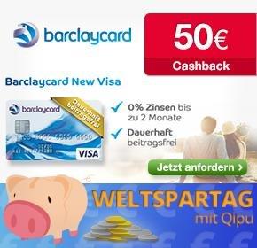 Barclay Card New Visa - komplett kostenfrei - 50€ Qipu