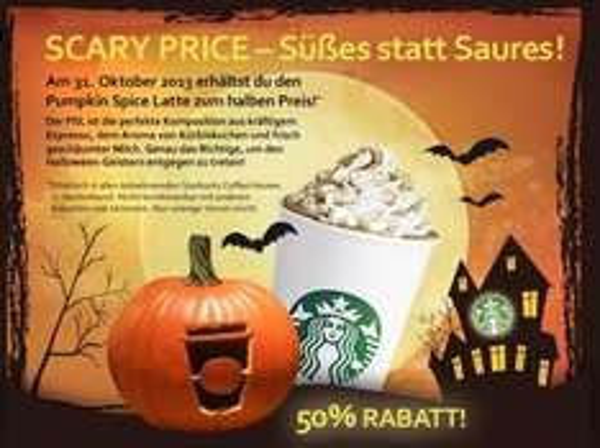 Starbucks: 50% Rabatt auf einen Pumpkin Spice Latte - nur am 31.10.2013