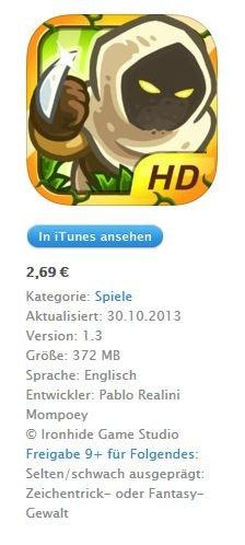 [iOS] Kingdom Rush Frontiers HD für iPad 2,69€ statt 4,49€