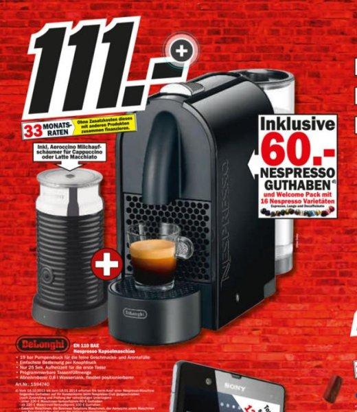 [MediaMarkt ] Nespresso  Kapselmaschine Delonghi EN 110 BAE für 111€ mit 60 € Gutschein