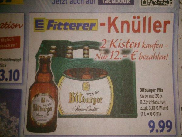[Lokal Baden-Baden, Edeka Fitterer]  2 Kästen Bitburger Stubbi (2*20*0,33l) für 12€