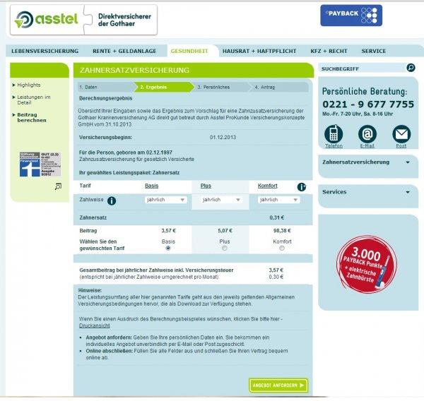 2 Jahre Zahnzusatversicherung mit Gewinn bei Asstel (ab 7,14 € (unter 16 Jahre)) Prämien: 30€ in Payback Punkte + Braun Oral-B Vitality Sonic, elektrische Schall-Zahnbürste (Wert ca. 20,-bis 50,-€)