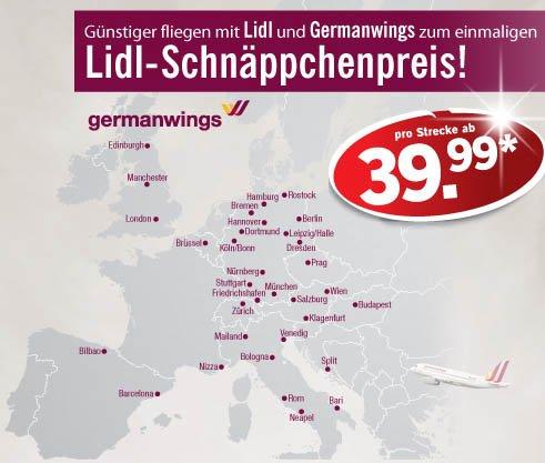 Flüge: Germanwings-Tickets via Lidl ab 39,99 € (incl. Gepäck, Sitzplatzreservierung, Snack) - an vielen Terminen günstiger als Normalpreis - z.B. Silvesterreisen für 99,98 € (Dezember - März)