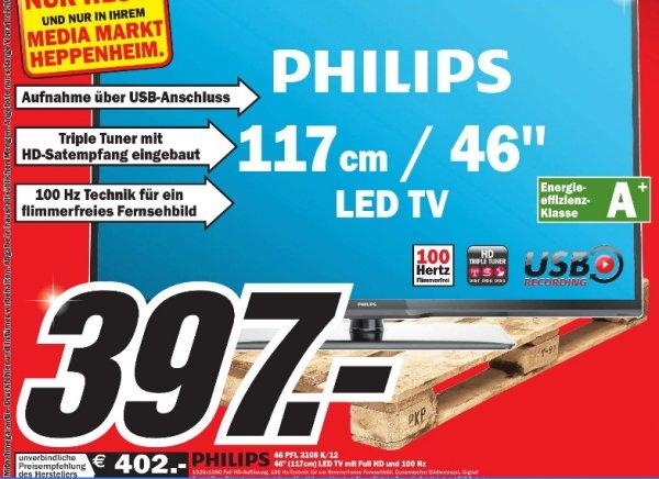 [MM Heppenheim]  Philips 46PFL3108K/12 117 cm (46 Zoll) LED-Backlight-Fernseher, EEK A+ (Full HD, 100Hz PMR, DVB-T/C/S2, CI+) schwarz  397€
