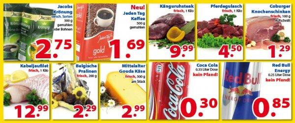 Coca Cola  0,33 Liter Dose 0,30€ oder Red Bull 0,85€  (kein Pfand!)  Jakobs Dröhnung für 2,75€ / 500gr @ Die Zwei Brüder von Venlo