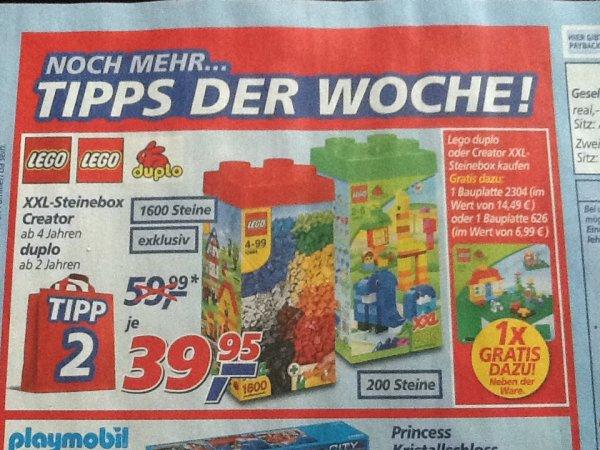 Real,- bundesweit Lego XXL 1.600 Steine-Box (10664) oder Duplo XXL 200 Steine-Box (10557) + Zugabe