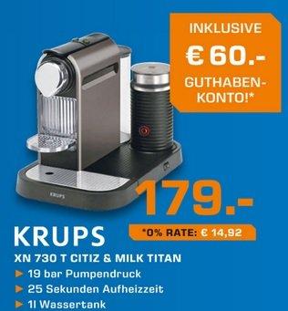 [lokal Saturn Weiterstadt] Krups XN 730 179€ inkl. 60€ Nespresso Guthaben