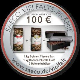 Saeco Vielfaltsprämie im Wert von 100 Euro gratis für Philips/Saeco HD8769/01, HD8768/01 und HD8766/01