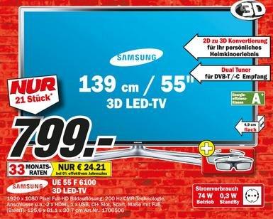 """[LOKAL MM BREMEN Waterfront] Samsung 55"""" LED Fernseher UE55 F6100 für 799€ (Begrenzte Stückzahl)"""