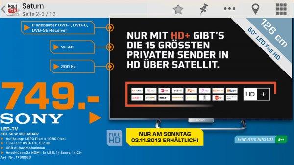 [Lokal] Sony KDL-50W656 im Saturn Aachen