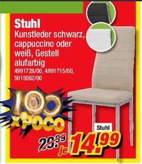 [Bundesweit] Kunstlederstuhl versch. Farben für 14,99 statt 29,99 bei POCO