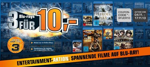 Saturn.de: 3 Blu-rays für 10€ (nur im Online Shop) vom 04.11. bis 17.11.