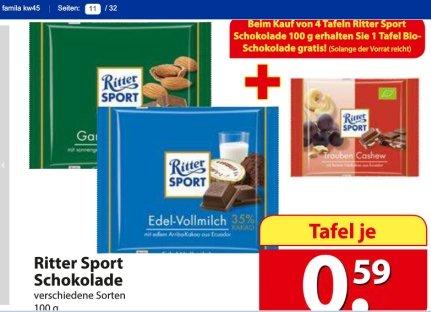 [Famila Nordost]: Ritter Sport 0.59€/100g, ab 4 Tafeln 1x Ritter Sport Bio 65g gratis