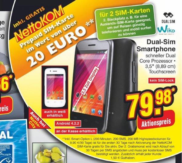 Netto Ohne Hund ab 07.11 Wiko Ozzy Smartphone für 79,98€ inkl. Internet Flatrate für 2 Monate (Bundesweit?)