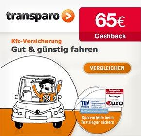 transparo: 65€ Cashback für Deinen KfZ-Versicherungsabschluss (wieder online)