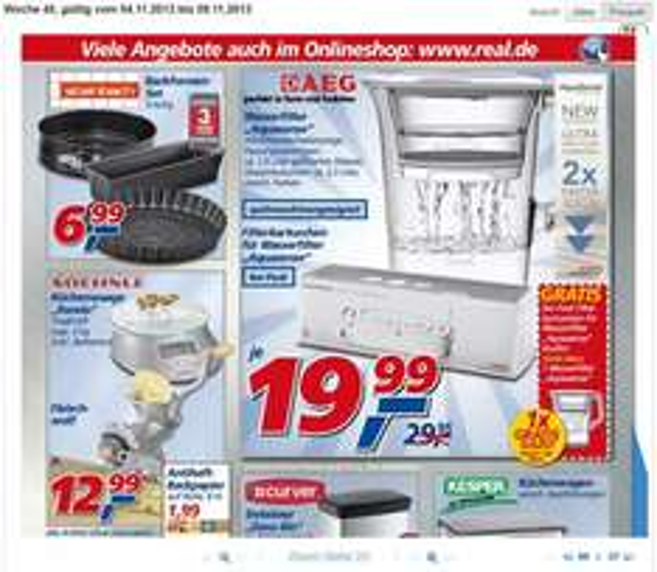 Real: aeg aquasense 6er filterkartuschen + wasserfilter gratis