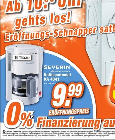 [Lokal EXPERT Döring] Severin Kaffeemaschine KA 4041 weiß 9,99€