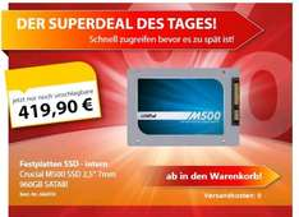 Crucial m500 SSD 960GB für 419,90 € inkl VSK