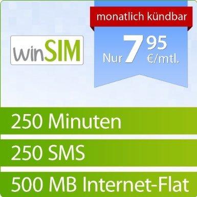 WinSIM 1000: 250 Min./ 250 SMS/ 500 MB für 7,95 €/Mon. o2 SIM/Micro-SIM - einmalig 4,95 € Amazon Blitzangebot