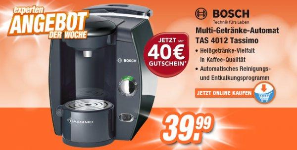 Bundesweit bei Expert  BOSCH TAS 4012 Tassimo (Magic Black) inkl. 40 Euro Gutschein*