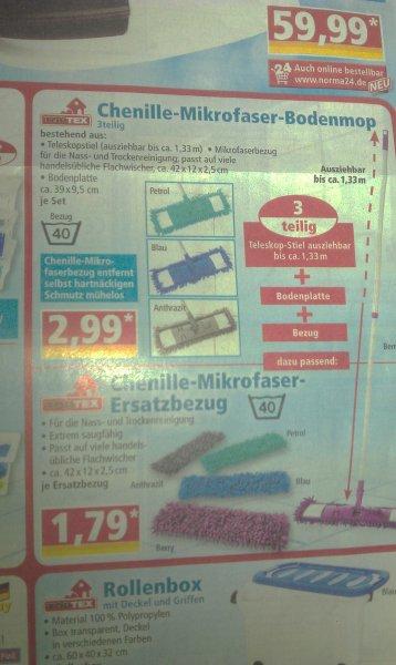 NORMA (Meckenbeuren/Reute, LOKAL?) Chenille Mikrofaser Bodenmop + 1 Ersatzbezug | weitere Bodenbezüge zu 1,79€