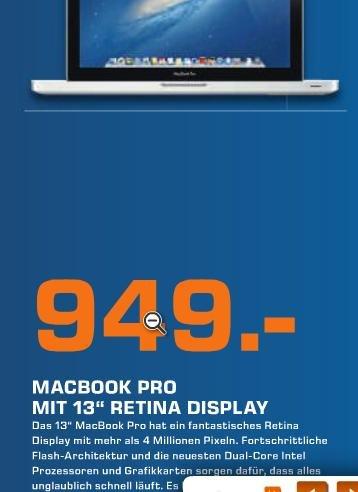 {LOKAL} 53844  MacBook Pro 13' (Möglicherweise Retina) 949 € Neueröffnung Saturn Troisdorf
