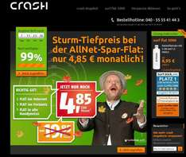Klarmobil Allnet Flat über Crash Tarife NUR 12,35 € pro Monat (O2 Netz!)