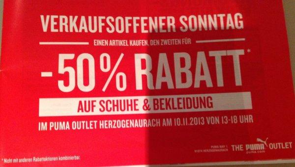 [Lokal 91074 Herzogenaurach] PUMA Outlet - Sonntag, 10.11.2013 - 13.00 bis 18.00 Uhr - Einen Artikel kaufen & 50% Rabatt auf den zweiten erhalten