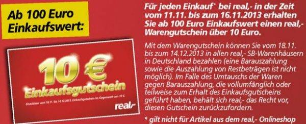 Ab Mo. 11.11.: 10 Euro Gutschein bei Einkauf ab 100 € @Real (offline)