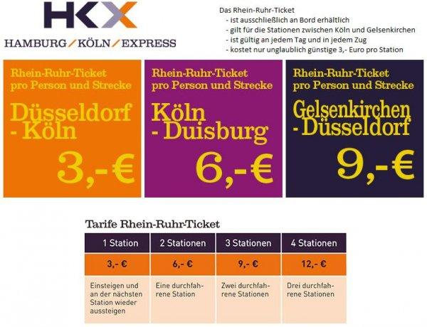 """[Bahn] HKX (Hamburg-Köln-Express) bietet neues """"Rhein-Ruhr-Ticket"""" an. Bsp.: Köln - Düsseldorf 3€, Köln - Essen 9€, Düsseldorf - Gelsenkirchen 9€, Duisburg - Köln 6€. - Angebot sogar günstiger als mit dem subventionierten Nahverkehr!"""