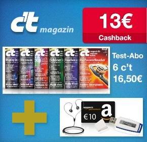 c`t Miniabo PLUS-Abo für 16,50€ + 13€ Cashback von Qipu + 10€ Amazon Gutschein