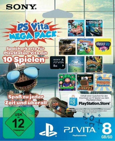 Sony PS Vita Mega Pack - 8GB Speicherkarte + Gutschein für 10 Spiele für 28€@Digitalo