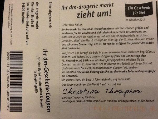 [Lokal Bochum] DM Drogeriemarkt 10% auf die kompletten Einkäufe