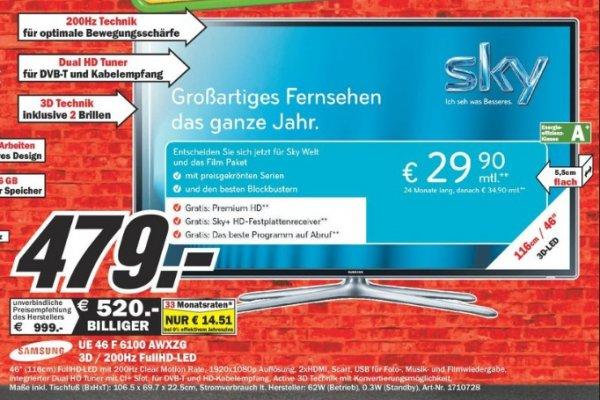 [Mediamarkt Dortmund-Oespel]Lokal Samsung UE46F6100 AWXZG 3D/200Hz 479€ Sonntagsangebot