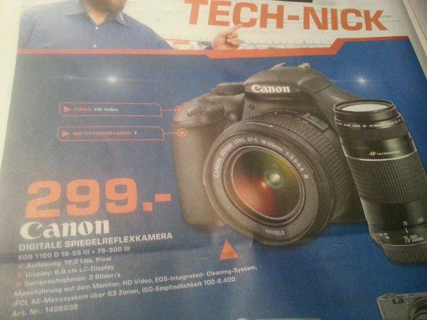 Canon EOS 1100D Kit 18-55 mm + 75-300 mm (25% unter Idealo.de) [Lokal Saturn GL]