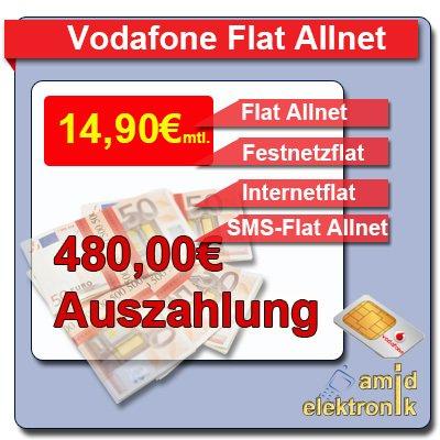 Vodafone Allnet Flat + SMS Flat + 500 MB Internet für 14,90 € mtl.