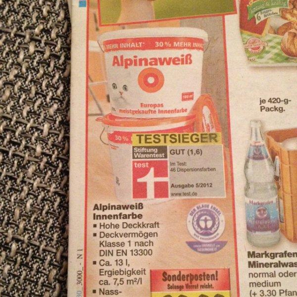 Alpinaweiß 13L [Katze] 39,99€ = 3,08€/L bei Kaufland