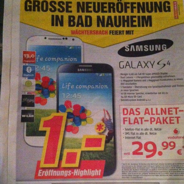 Samsung Galaxy S4 für 1,-Euro in Verbindung mit Allnet Flat Paket 29,99 mtl. bei Medi Max Eröffnungs-Highlight