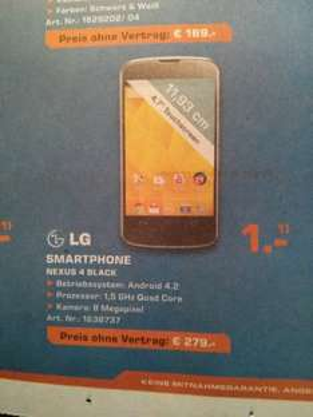 Nexus 4 (Saturn Bremerhaven lokal?)