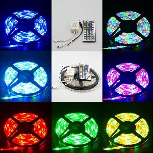 5M 300-3528-SMD RGB LED wasserdicht Strip Streifen + 44 Tasten Fernbedienung & Trafo