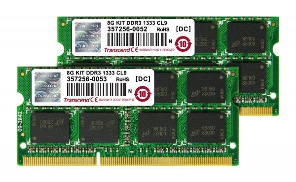 [Blitzangebot]Transcend Arbeitsspeicher 8GB Dual Channel Kit 2x 4GB 204pin DDR3-1333 für 69€ @Amazon