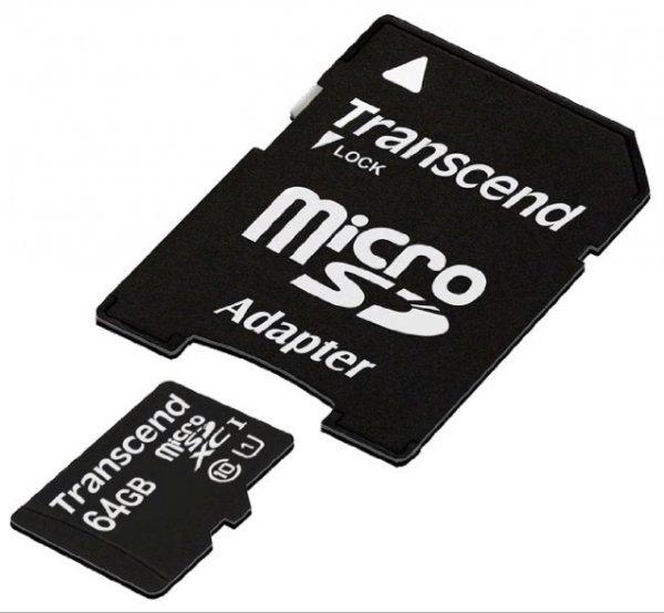 [Amazon.fr] Transcend Premium Class 10 microSDXC 64GB Speicherkarte TS64GUSDU1E