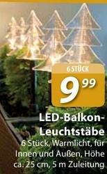 6 weihnachtliche LED-Leuchstäbe für 9,99 €